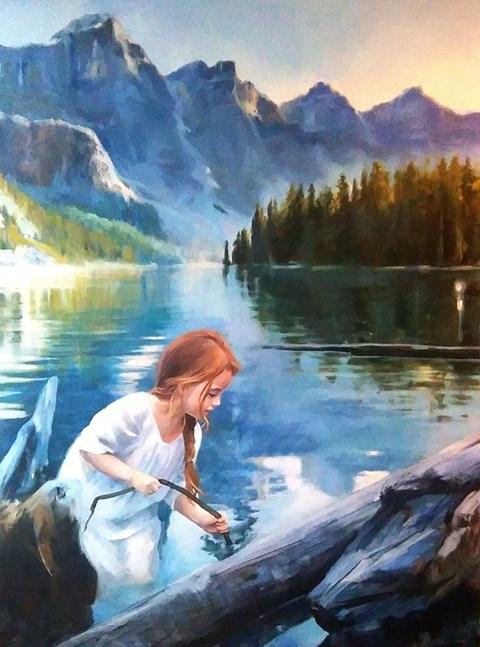 Obraz do salonu artysty Barbara Olszewska pod tytułem Patykiem po wodzie
