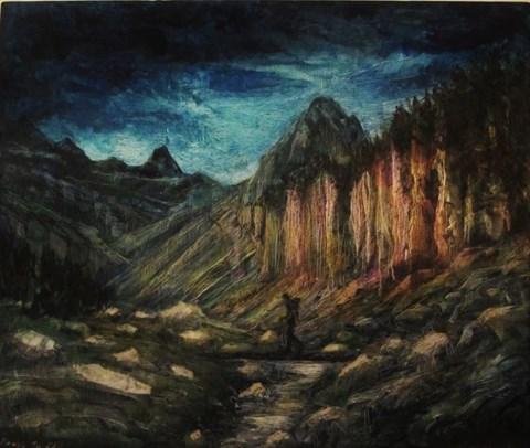Obraz do salonu artysty Ewa Maria Romaniak pod tytułem Pireneje Pic d'Alba (Cykl górski)