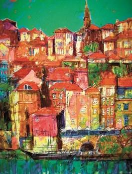 Obraz do salonu artysty Krzysztof Ludwin pod tytułem Energetyczne miasta III (z cyklu Nerwowy ekspresjonizm)