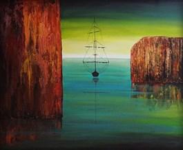 Obraz do salonu artysty Sabina Maria Grzyb pod tytułem Dwie skały, szmaragd i galeon