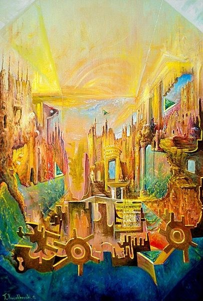 Obraz do salonu artysty Tomasz Jaxa Kwiatkowski pod tytułem Kanarek od środka