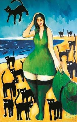 Obraz do salonu artysty Miro Biały pod tytułem Kocica i jej koty
