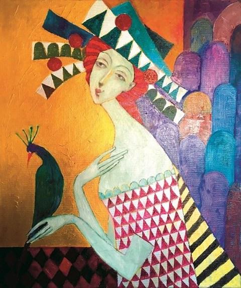 Obraz do salonu artysty Jan Bonawentura Ostrowski pod tytułem Dziewczyna z pawiem