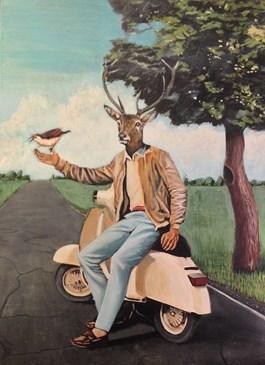 Obraz do salonu artysty Lech Bator pod tytułem Jeleń na vespie