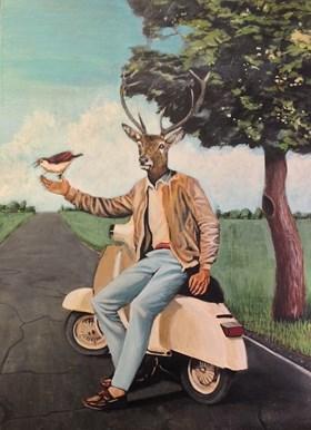 Jeleń na vespie