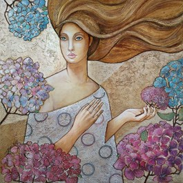 Obraz do salonu artysty Joanna Misztal pod tytułem Dyskretny zapach hortensji