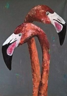Obraz do salonu artysty Karolina Kucharska pod tytułem Dwa flamingi