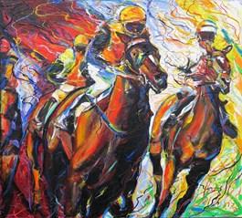 Obraz do salonu artysty Paweł Polisiak pod tytułem Derby wAscot