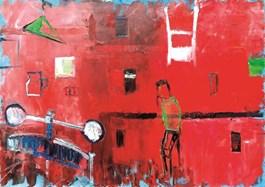 Obraz do salonu artysty Olek Myjak pod tytułem Kompozycja zprasą iczłowiekiem