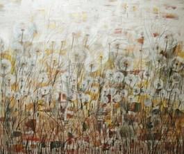 Obraz do salonu artysty Mariola Świgulska pod tytułem Złoto łąk  (zcyklu Zauroczona  Dmuchawcami)