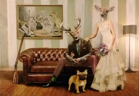 Obraz do salonu artysty Lech Bator pod tytułem Para na kanapie