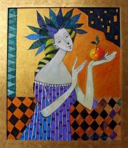 Obraz do salonu artysty Jan Bonawentura Ostrowski pod tytułem Dziewczyna z jabłkiem