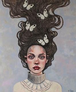 Obraz do salonu artysty Viola Bąbol pod tytułem Muza o ulotnym pięknie