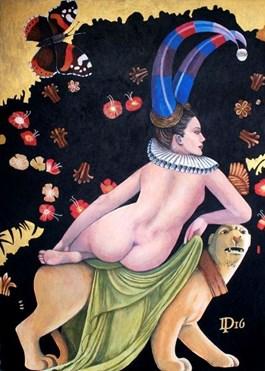 Obraz do salonu artysty Daniel Porada pod tytułem Naga kobieta na panterze w raju
