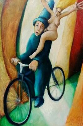 Obraz do salonu artysty Miro Biały pod tytułem Z duszą na ramieniu