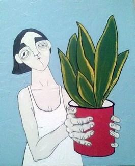 Obraz do salonu artysty Paulina Korbaczyńska pod tytułem Potrzymaj moją Sansewierię