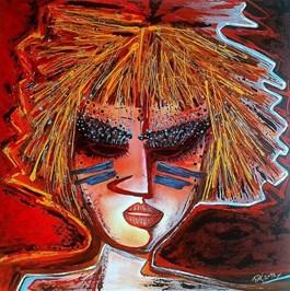 Obraz do salonu artysty Piotr Kopczyński pod tytułem AIKO z cyklu Maski