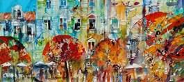 Obraz do salonu artysty Krzysztof Ludwin pod tytułem Niebieskie elewacje 2