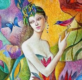 Obraz do salonu artysty Agnieszka Korczak-Ostrowska pod tytułem Dziewczyna z ptakiem