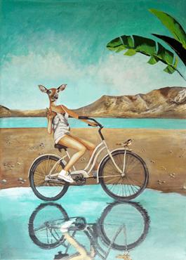 Obraz do salonu artysty Lech Bator pod tytułem Sarna na rowerze