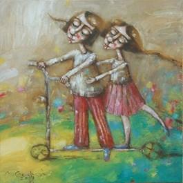 Obraz do salonu artysty Magdalena Gedroyć pod tytułem Skołowani