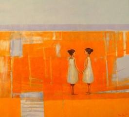 Obraz do salonu artysty Ilona Herc pod tytułem Na wietrze z cyklu Pytania