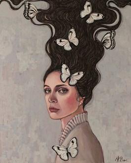 Obraz do salonu artysty Viola Bąbol pod tytułem Muza w ogrodzie motyli