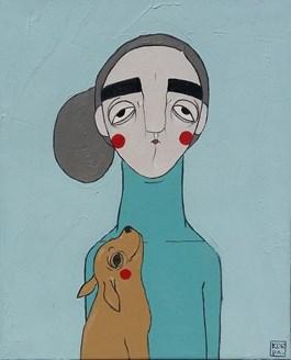 Obraz do salonu artysty Paulina Korbaczyńska pod tytułem Nie dość, że dzieciak ma ogon, to jeszcze nie jest mój