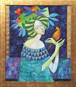 Obraz do salonu artysty Jan Bonawentura Ostrowski pod tytułem Dziewczyna w błękitach