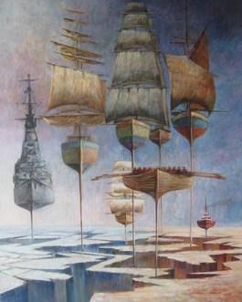 Obraz do salonu artysty Andrzej Wroński pod tytułem Statki