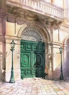 Obraz do salonu artysty Grzegorz Wróbel pod tytułem Drzwi z szafiru, Poligniano
