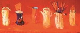 Obraz do salonu artysty Jolanta Caban pod tytułem Martwa natura z pomarańczowym rondelkiem