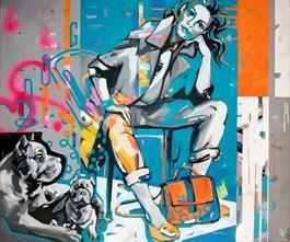 Obraz do salonu artysty Kamila Jarecka pod tytułem Dama z amstafem