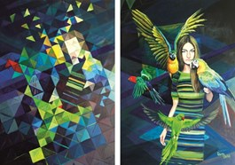 Obraz do salonu artysty Katarzyna Orońska pod tytułem Z papugami