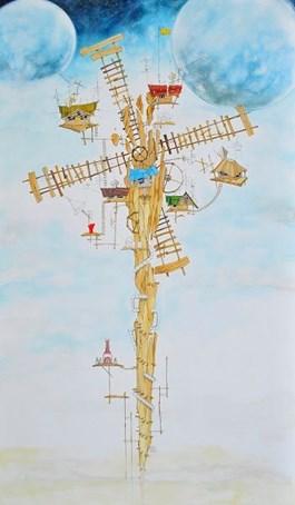 Obraz do salonu artysty Dariusz Franciszek Różyc pod tytułem Molendinium (cykl Nie tak odległe…)