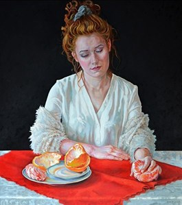 Living room painting by Marcin Jaszczak titled Portrait with grapefruit