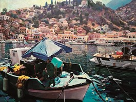 Living room painting by Grzegorz Chojnacki titled Symi - The island of sponge fishermen