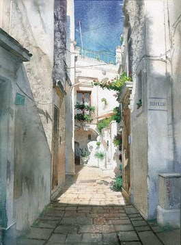 Living room painting by Grzegorz Wróbel titled Apulia Cisternino