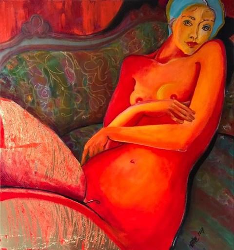 Obraz do salonu artysty Inez White pod tytułem Akt na kanapie