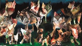 Living room painting by Barbara Kozaczkiewicz titled wolves