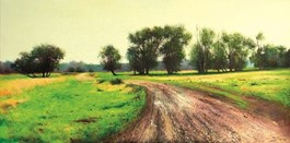 Living room painting by Konrad Hamada titled Road into the field