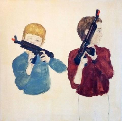 Obraz do salonu artysty Dorian Karolak pod tytułem Chłopcy z karabinami