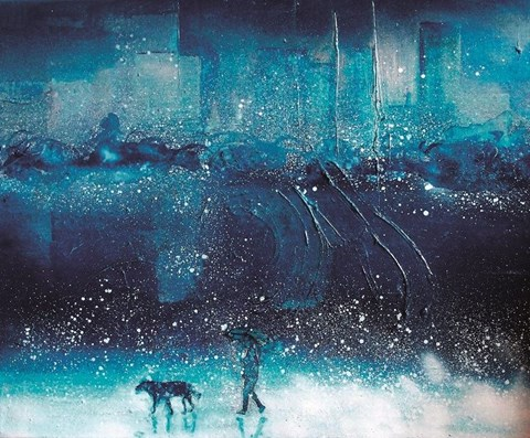 Obraz do salonu artysty Olga Gralewska pod tytułem Błękit Paryski nad Warszawą