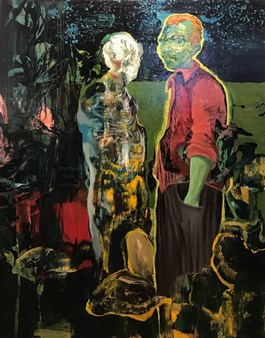 Living room painting by Tomasz Tobolewski titled Vincent Meets Death