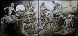 Obraz do salonu artysty Wojciech Pelc pod tytułem WALKA CENTAURÓW (DYPTYK)