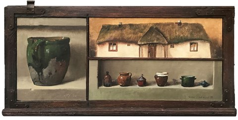 Obraz do salonu artysty Wiktor Jerzy Jędrzejak pod tytułem MARTWA NATURA Z WIEJSKĄ CHATĄ