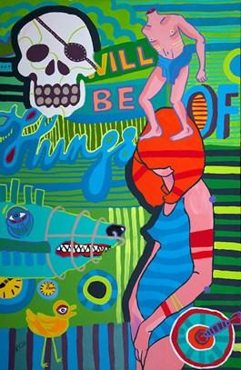 Obraz do salonu artysty Marcin Painta pod tytułem ONE I ZIELONA WYSPA I I II (DYPTYK)
