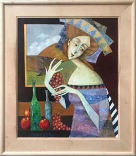 Obraz do salonu artysty Jan Bonawentura Ostrowski pod tytułem DZIEWCZYNA Z WINOGRONAMI