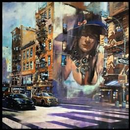 Obraz do salonu artysty Piotr Zawadzki pod tytułem WERONIKA JEDZIE NA MANHATTAN
