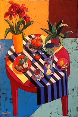 Obraz do salonu artysty David Schab pod tytułem MARTWA NATURA Z CZERWONYM STOŁEM